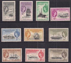 Falkland Island Dependencies 1954 – 62 QE2 set to 1/-d MM ( 858 )