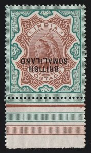 SOMALILAND 1903 QV 3R ERROR DOUBLE INVERTED ALBINO MNH ** ONLY 1 SHEET EXISTED!