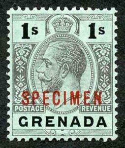 GRENADA SG98as 1913-22 wmk MCA 1s black/green white back opt SPECIMEN red