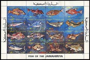 Libya 1107, MNH, Fish miniature sheet of 16
