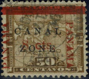 CANAL ZONE #20 1906 PANAMA/CANAL ZONE OVERPRINTS ON 50c COLUMBIA ISSUE-used--VF
