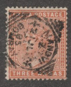 India stamp, used Scott# 41A, Three Annas,  red/brown#M650