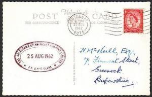GB SCOTLAND 1962 postcard Clyde Steamer cachet P.V. JEANIE DEANS...........13699