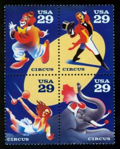USA Scott 2753a .Circus  block of 4 stamps MNH**