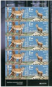 Stamps of Bosnia and Herzegovina 2021 - Europa 2021, full sheet. Endangered nati