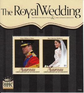 Mayreau Grenadines St Vincent 2011 MNH Royal Wedding 2v S/S Prince William Kate