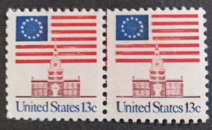 U.S.#1622  Flag Over Independence Hall 13c Perforated Pair w/Seam Line, M-H..