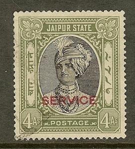 India-Jaipur, Scott #O27; 4a Maharaja Singh Overprint, Used