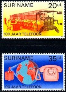 Cent. of First Telephone Call by Alexander Bell, 1876, Surinam SC#452-3 MNH set