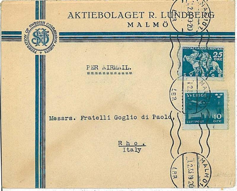POSTAL HISTORY : SWEEDEN - COVER to ITALY 1920