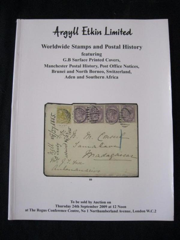 ARGYLL ETKIN AUCTION CATALOGUE 2009 GB SURFACE PRINTED COVERS BRUNEI BORNEO ETC