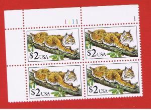 #2482 MNH OG plate block of 4 Bobcat  Free S/H
