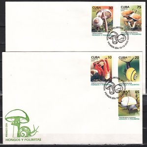 Cuba, Scott cat. 4551-4555. Snails & Mushrooms issue. First day covers. ^