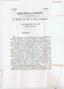 ITALY ROMAN REPUBLIC PROCLAMATION 1849 BOLOGNA