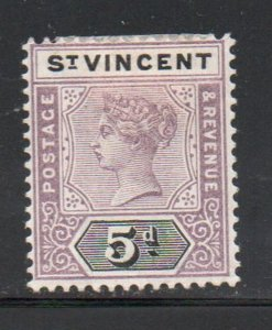 St Vincent Sc 67 1898 5d lilac & black Victoria stamp mint