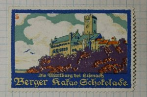 THe Wartburg Castle At Eisenbach Berger Chocolate German Brand Poster Stamp Ads