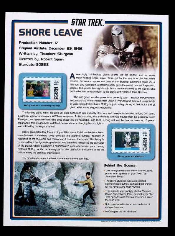 STAR TREK 2011 Pitney Bowes 44 Cent Large Stamp Panel Shore Leave #17