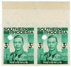 (I.B-BOB) Southern Rhodesia Revenue : Duty Stamp 3/- (printer's proof)