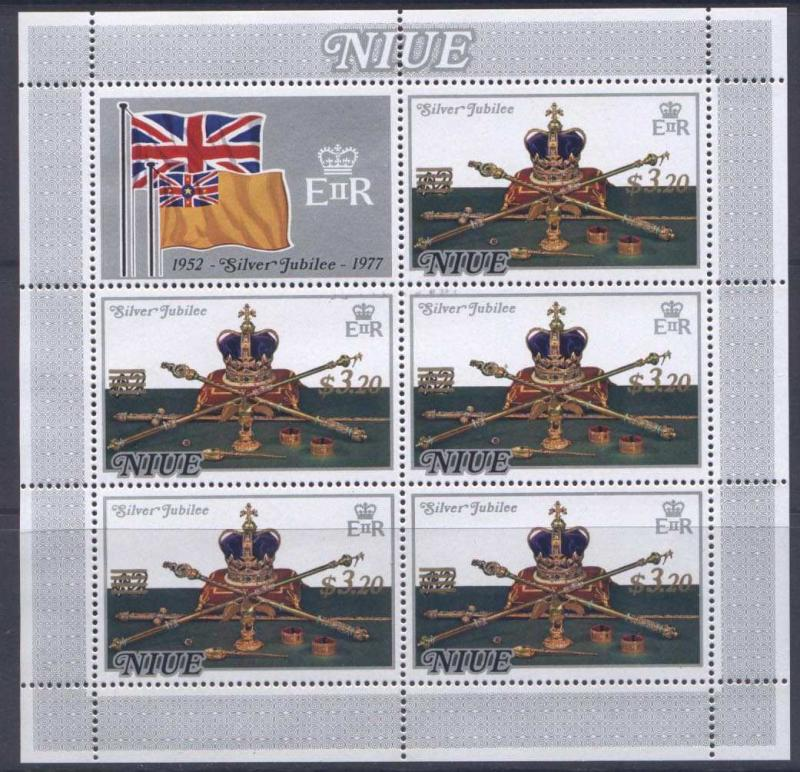 Niue 213 MNH Sheet o/p  Royalty, Flag, Crown Jewels