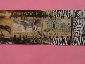 DJIBOUTI STAMP-2010- WILDLIFE- ZEBRAS CTO-MNH STAMP SHEET -RARE VERY RARE