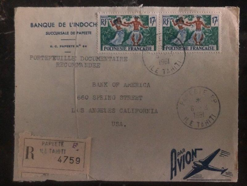 1961 Papeete Tahiti French Polynesia Cover To Bank Of America Los Angeles USA