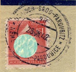 BÖHMEN u. MAHREN 1942 DEUTSCH BROD-PARDUBITZ TPO n°96a bilingual CDS on Mi.96