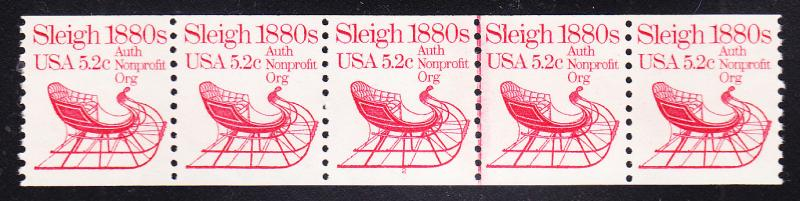 Sleigh 1880's 5.2c Plate Number Strip of 5. Nr.-2 as a Line Pair.  VF/NH