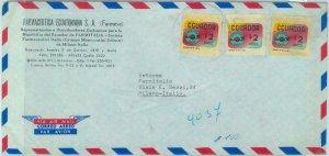 84279 - ECUADOR - POSTAL HISTORY -  AIRMAIL COVER to ITALY  1970's