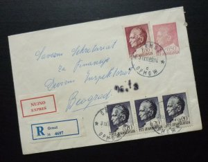 Yugoslavia 1967 Uprated Registered Postal Stationery Slovenia to Serbia A9