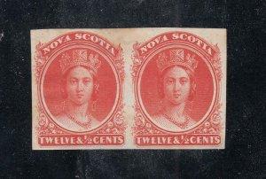 NOVA SCOTIA # 12TCiii VF-MH PAIR IMPERFS Q/VICTORIA's 12.5cts CAT VALUE $240