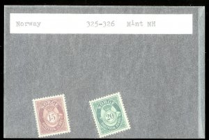 NORWAY Sc#325-326 MINT NEVER HINGED Complete Set