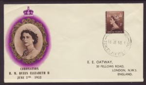 Tokelau 4 Queen Elizabeth II Coronation Typed FDC