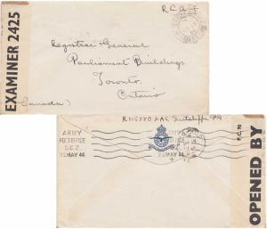 Canada Soldier's Free Mail 1944 Army Post Office and reverse Army Post Office...