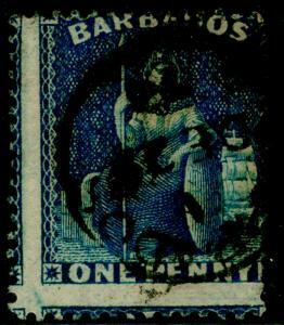 BARBADOS SG66, 1d deep blue, used, CDS.