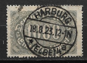 1923 Germany Sc204 with socked on nose Harburg Elbe cancellation