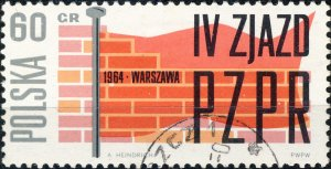 POLAND / POLEN - 1964 Mi.1499 60Gr. Workers' Party Congress - VF Used