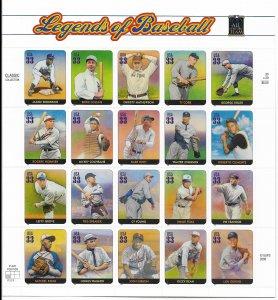 USA 3408 MNH SHEET LEGENDS OF BASEBALL