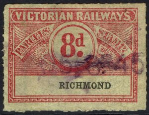 VICTORIA 1917 RAILWAY PARCEL STAMP 8D USED