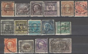 COLLECTION LOT # 3905 USA 15 STAMPS 1892+ (#237 THIN) CV+$21