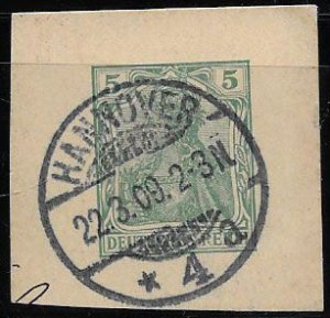Germany, SC 67, cut square, 1909 Hannover cancel