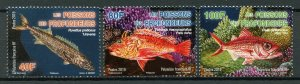 French Polynesia Fish Stamps 2019 MNH Deep Sea Fishes Marine Snapper 3v Set