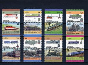 Union Island Trains TGV (France)  8 Pairs (16 values) Perforated MNH