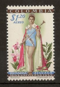 Colombia 1959 Miss Universe Aereo SG953 MNH