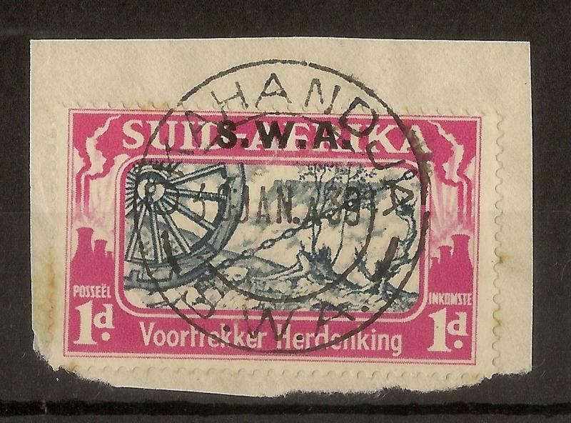 South West Africa 1938 1d Voortrekker 'Three Bolts' Variety SG109A Used