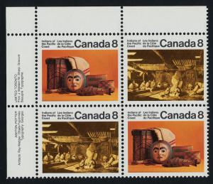 Canada 571a,3a TL Plate Blocks MNH Pacific Coast Indians, Art, Costumes