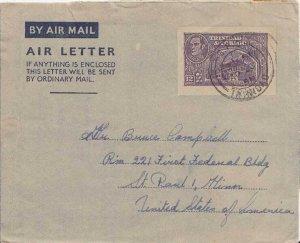 Trinidad 12c Town Hall San Fernando Air Letter 1951 G.P.O, Trinidad Airmail t...