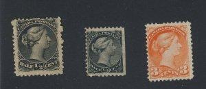 3x Canada L & SQ stamps #21-1/2c MHR F #34-1/2c MHR F #41-MNG F/VF GV = $100.00
