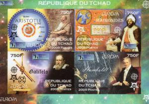 Chad 2009 EUROPA CEPT 50th.Anniversary/ Galileo/Aristotle Sheetlet (4) Imperf.