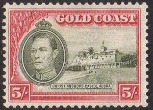 Gold Coast 1940 5/- olive-green and carmine MH