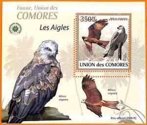 A5589 - COMOROS - ERROR, 2009, MISPERF SOUVENIR SHEET: Birds, Eagles